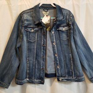 NWT denim Jean jacket distressed 2x dkn jeans